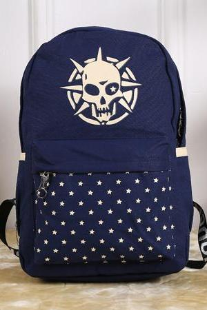 Skull Star Pattern School Travel Rucksack Backpack