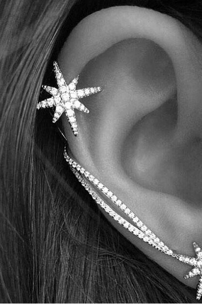 Snowflake Chain Asymmetrical Ear Clips Earrings