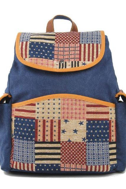 Us Flag Retro Stripe Canvas School Bag Backpack