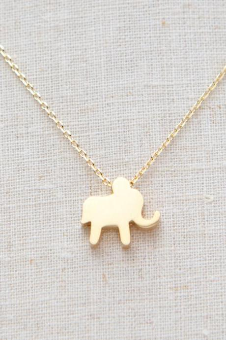 Gold Lucky Elephant Necklace In Gold