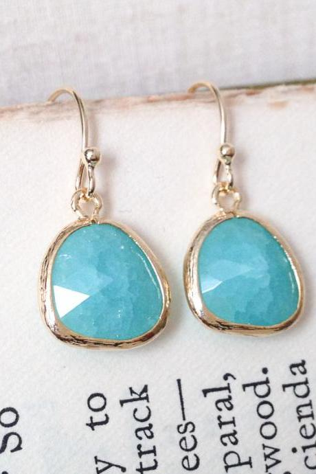 Mint Green Cracked Glass Gold Framed Earrings