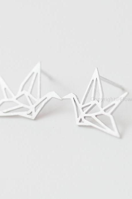 Origami Crane Earrings In Silver Blessing Of The Earrings Happiness Earrings