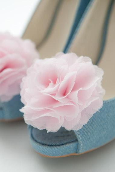 Sale-Chiffon Flower Shoe Clips For Bridal Wedding