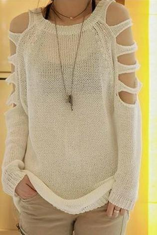Beige Strapless Pullover Long Sweater