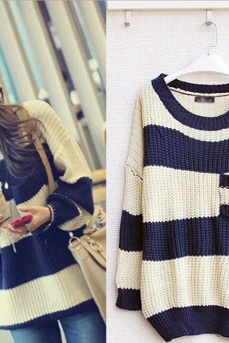 Dark Blue Striped Pullover Loose Sweater