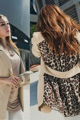 Fashion Womens Casual Leopard Lapel Outwear Coat Jacket Chiffon Suit Blazer