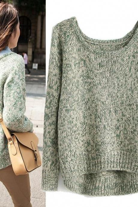 Loose Short In Front Long Round Neck Sweater