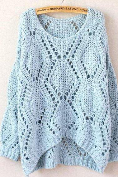 Knit Scoop Neck Long Cuffed Sleeves Sweater Featuring Hollow Detailing