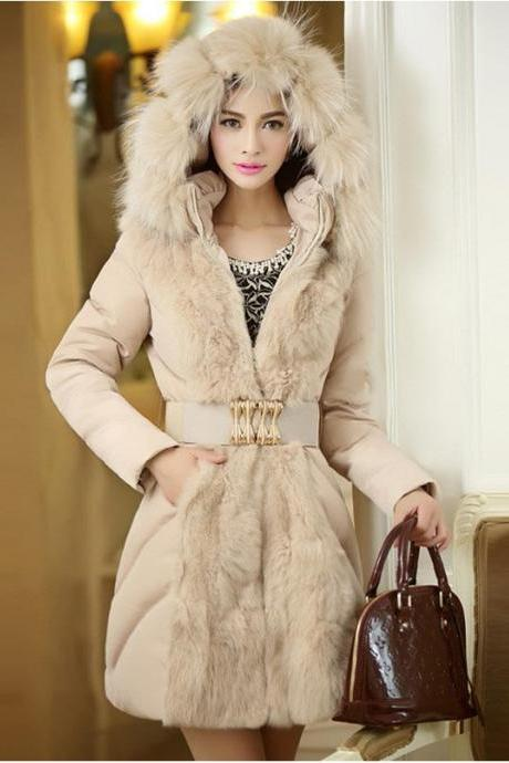 Women'S Fur Collar Long Length Outercoat - Available In 2 Colors