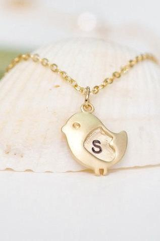 Bird Necklace Personalized Necklace Initial Necklace Heart Bird Necklace Initial Bird Love Bird Jewlery Love Necklace For Mom Baby Shower