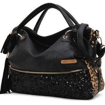 Tassels sequined leopard handbag shoulder bag [ grdx02083]