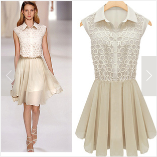 Beige turn-down collar sleeveless cut flower stitching bud silk chiffon dress with silhouette waist