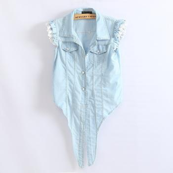 Light Blue Denim Sleeveless Shirts with SEXY LACE