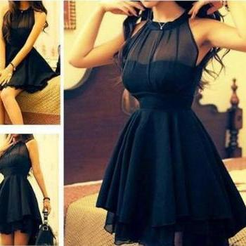Mesh Front Cute Slim Dress For Women Black