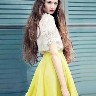 Women White Linen Dress Yellow Skirt