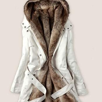 Fashion white color Faux Fur Lined Coat