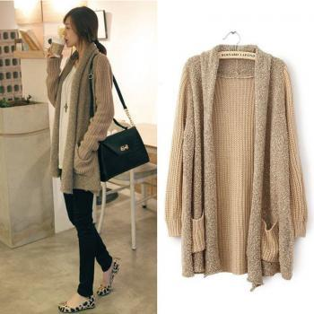 New Casual Women Loose Splice Knitted Long Sleeve Cardigan Sweaters Coat