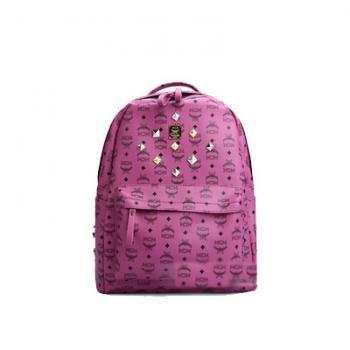 Fashion Rivet Letters & Floral Print Backpack - Purple