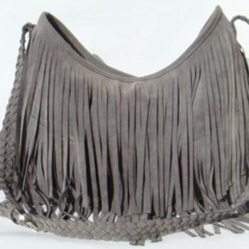 Grey Boho Fringe Purse ~ Suede Tassel Messenger Bag
