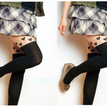 Tattoo Heart Spliced Pantyhose High Stockings Tights