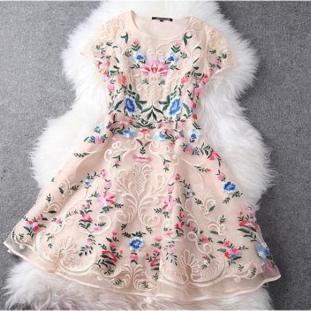 Gorgeous Embroidered Lace Dress In Baige