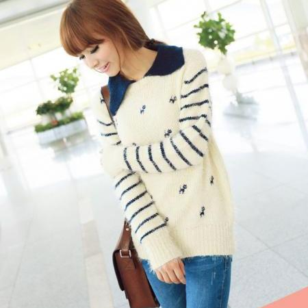 New Fashion Women Stripe Retro Sweater