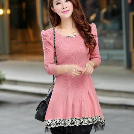 New Sweet Long Sleeve Women Knitted Dress
