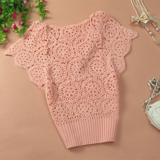 Elegant Floral Crochet Hollow Out Batwing Sleeve Shirt - Pink