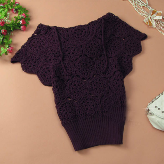 Elegant Floral Crochet Hollow Out Batwing Sleeve Shirt - Purple
