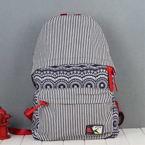 Folk Style Retro Strip Floral Print Canvas Backpack - Navy Blue