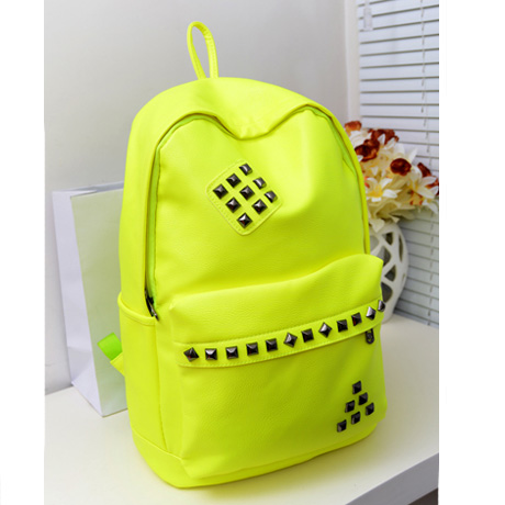 Punk Style Rivet Fluorescent Color Backpack - Fluorescent Green