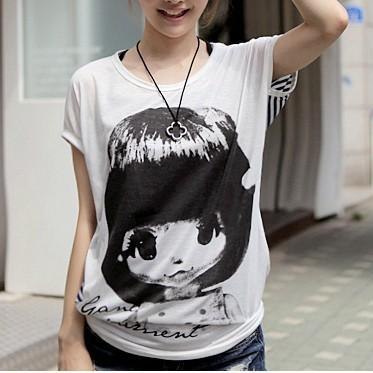 Cartoon Striped Short-sleeved T-shirt AECHF
