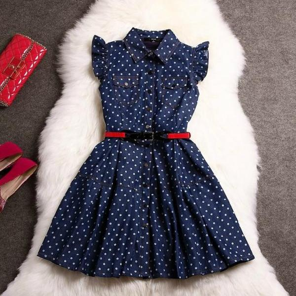 Cowboys Polka Dot Dress Fashion AFAJBE
