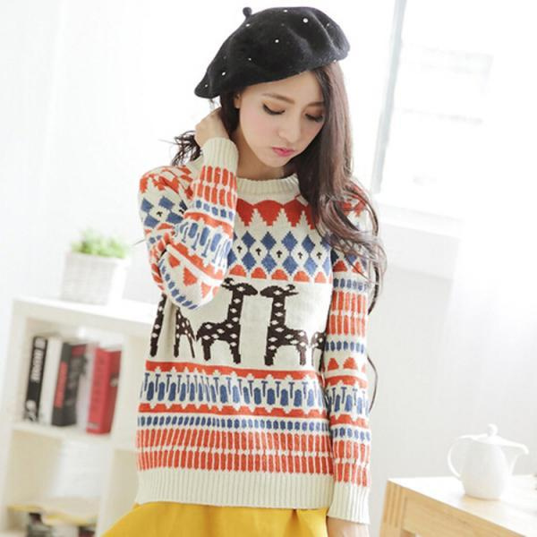 Deer Geometric Loose Sweater CA922CG