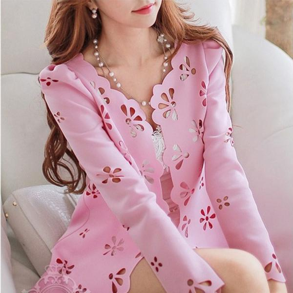 Craft Cut Flowers Long Sleeve Casual Coat ZX925BC