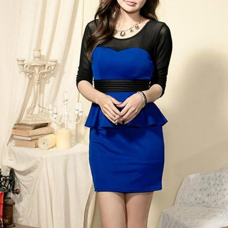 Free Shipping Formal Round Neck Long Sleeve Cotton Blend Office Dress