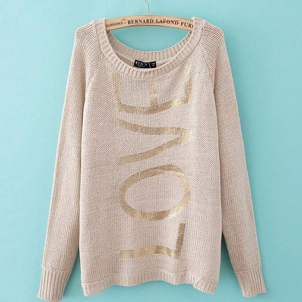 Gilt Letters Printed Pullover Sweater A 082008