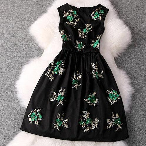 Decorative Beads Temperament Sleeveless Dress ME1