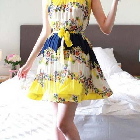 Bohemia Style Sleeveless Printed Mini Dress For Summer
