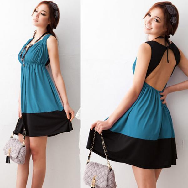 Free Shipping Sexy V Neck Cutout Back Shirred Waist Micro Fiber Dress