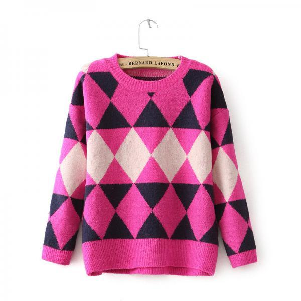 One Size Vintage Fashoin Geometric Women Round Neck Casual Loose Long Batwing Sleeve Knitted Pullover Jumper Sweater One Size