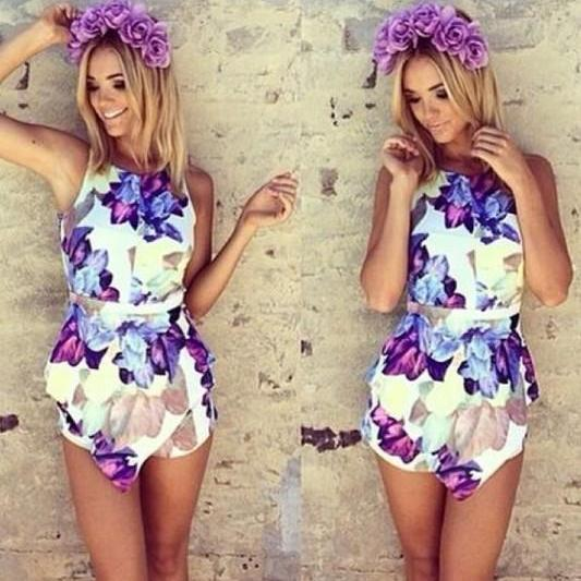 Fashion Floral Print Sleeveless Backless Mini Jumpsuits