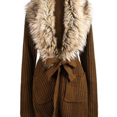Fashionwear Khaki Long Sleeve Faux Fur Lapel Cardigan Sweater