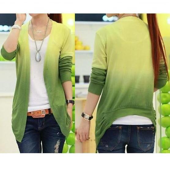 Green Color Gradient Cardigan Sweater