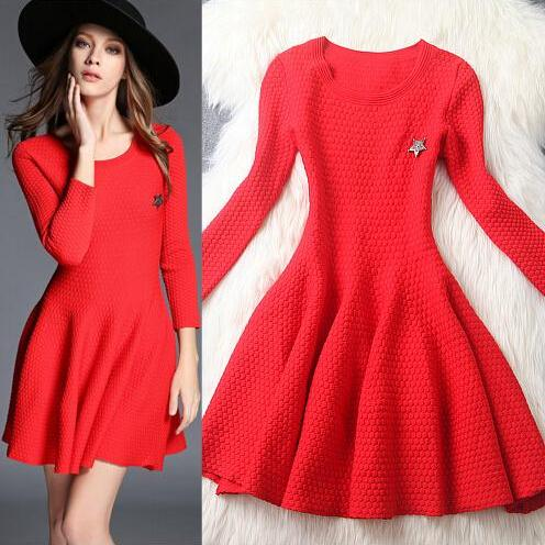 Fashion Round Neck Long-Sleeved Dress 2863201