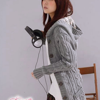 Fashion Loose Knit Cardigan Hooded Sweater Coat