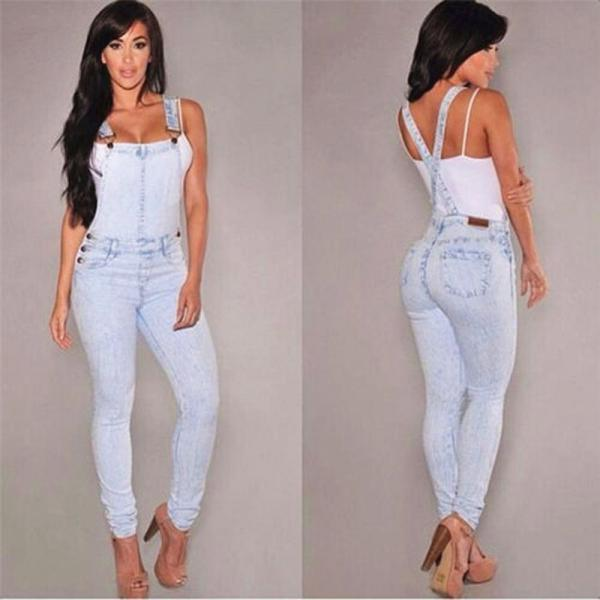 1168f0a4f49 European Style Women Jumpsuit Denim Overalls Casual Skinny Girls Pants Jeans  on Luulla