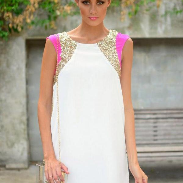 Fashion Women Sleeveless Sequins Formal Evening Gown Party Cocktail Mini Dress