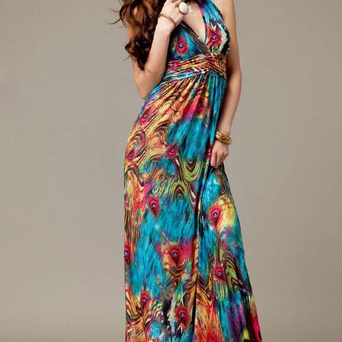 Alluring V-Neckline Peacock Print Sleeveless Maxi Dress For Women