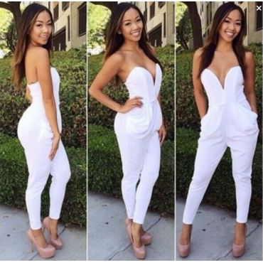 Fashion Strapless Pocket Designed Solid White Polyester One-Piece Jumpsuit